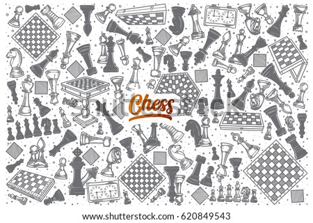 hand drawn chess doodle set