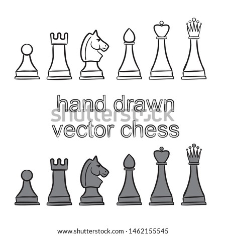 Hand Drawn Chess Pieces. Vector Chess