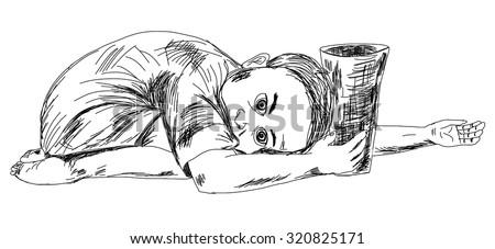 hand drawn child beggar vector