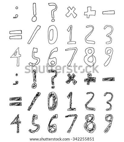 hand drawn child numbers and
