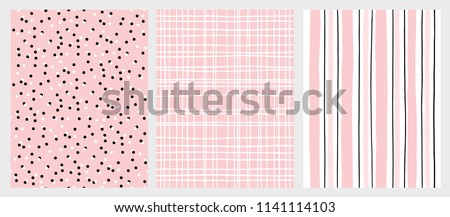 Hand Drawn Childish Style Vector Pattern Set. Pink and Black Vertical Stripe on a White Background. White Grid On a Pink Backround. White and Black Dots on a Pink Background. Cute Simple Design.