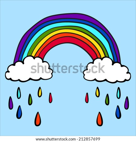 Hand drawn childish vector rainbow illustration in the clouds