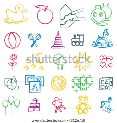 Hand drawn children related symbols