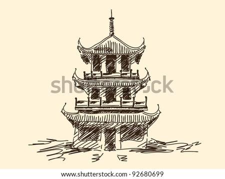 Hand drawn chinese pagoda Vector