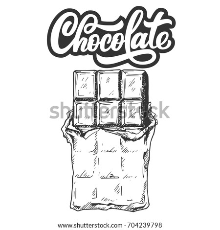 Hand drawn chocolate bar with custom lettering, black and white draft sketch isolated on white background. Vintage vector illustration.