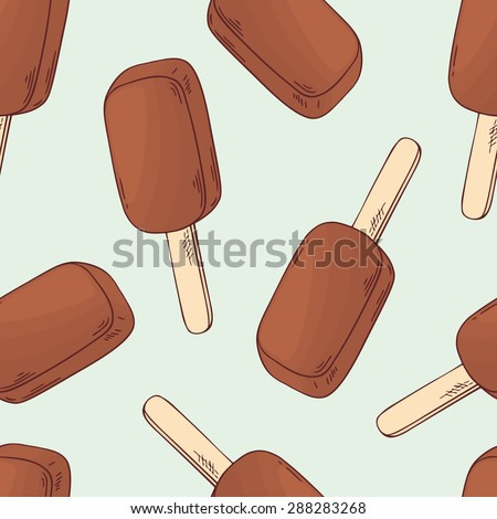 hand drawn chocolate ice cream