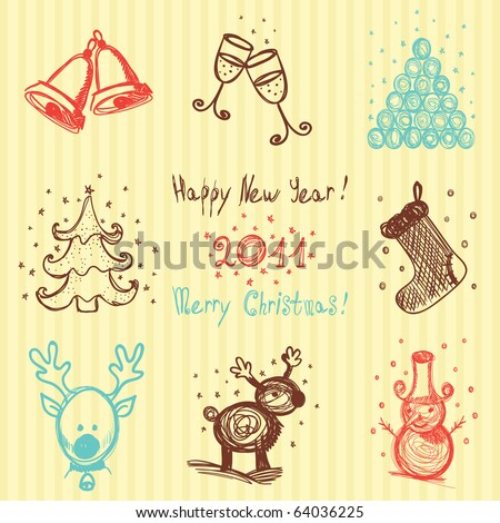 Hand-drawn Christmas and New Year icons