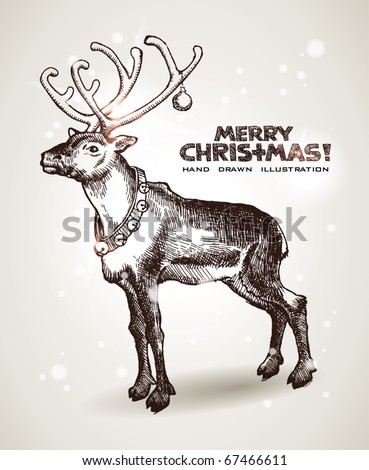 Hand drawn Christmas and New Years postcard with Christmas Santaâ??s reindeer. EPS10 contains transparency