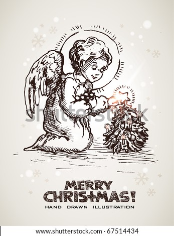 Hand drawn Christmas and New Years postcard with cute little angel decorating miniature Christmas tree. EPS10 contains transparency