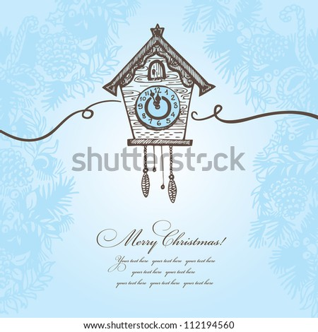 Hand drawn Christmas background with cuckoo-clock