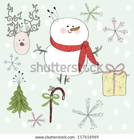 Hand drawn Christmas Card, EPS10 Vector background
