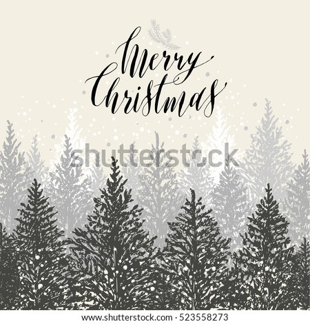 hand drawn christmas card new