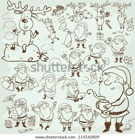 Free Christmas Background Illustration with Hand Drawn