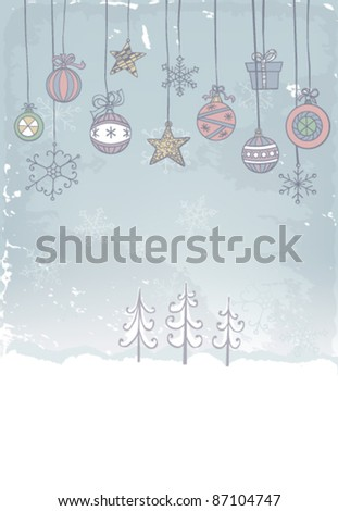 Hand -drawn Christmas decoration on grunge background