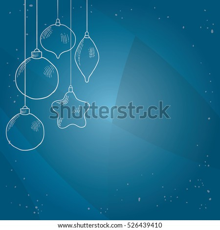 Hand drawn christmas decorations. New year background.