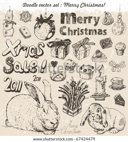 Hand-drawn christmas doodles