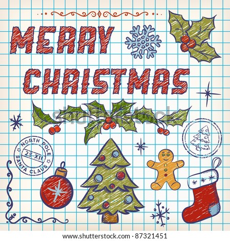 Hand-Drawn Christmas Doodles. Lettering Merry Christmas. Vector