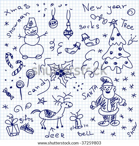Hand-drawn christmas doodles. Vector. Visit my portfolio for big collection of doodles