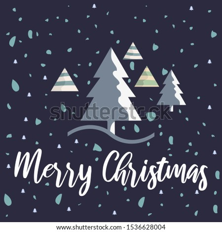 Hand drawn Christmas hand drawn vector illustration with lettering and trees and snow. Perfect for posters, greeting cards, banners, social media, websites, adverts etc.