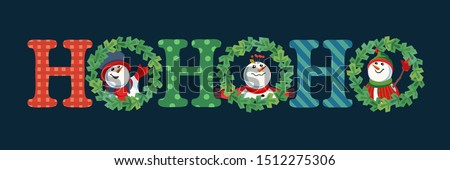 Hand drawn Christmas Holiday vector decoration. Cute winter frosty snoman in xmas tree wreath cartoon. Fun text Ho-Ho-Ho fancy letters. Template for New year season event banner, greeting eve flyer