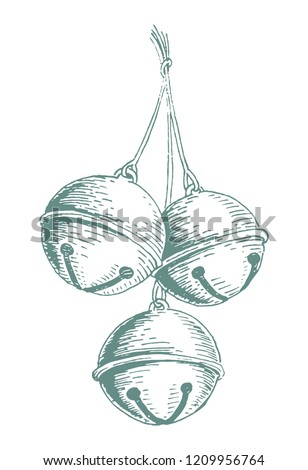Hand drawn Christmas jingle bells in vector illustration. Happy new year design element.