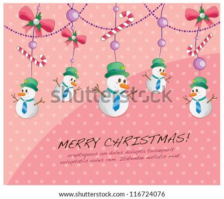 hand drawn christmas layout series(hanging snowman)