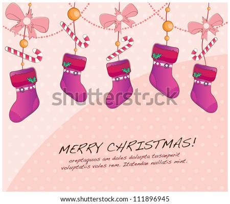hand drawn christmas layout series(hanging socks)