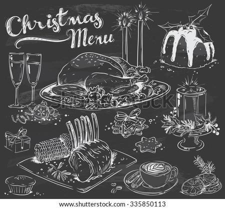 hand drawn christmas menu on