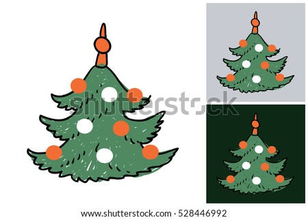Hand drawn christmas or New Year illustration: christmas tree. Isolated vector art element on white, gray and dark green background in sketch style.