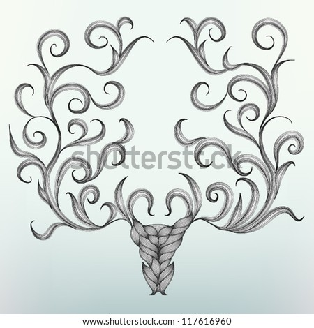 Hand drawn Christmas Reindeer Head Card, EPS10 Vector background