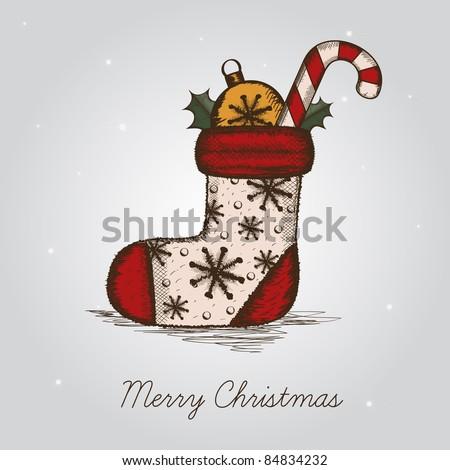 hand drawn christmas sock