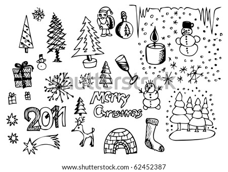hand drawn christmas symbols