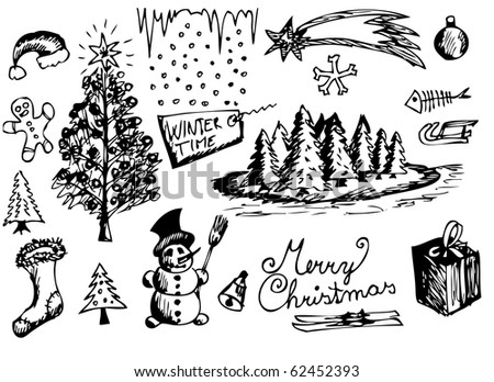 hand drawn christmas symbols