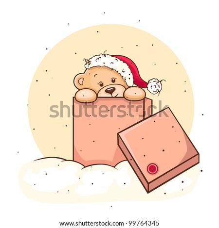 Hand drawn christmas teddy bear in box, for xmas design.