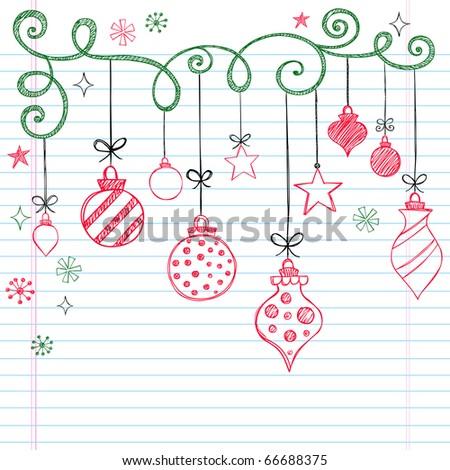Hand-Drawn Christmas Tree Ornaments Sketchy Notebook Doodles- Vector Illustration Design Elements on Lined Sketchbook Paper Background