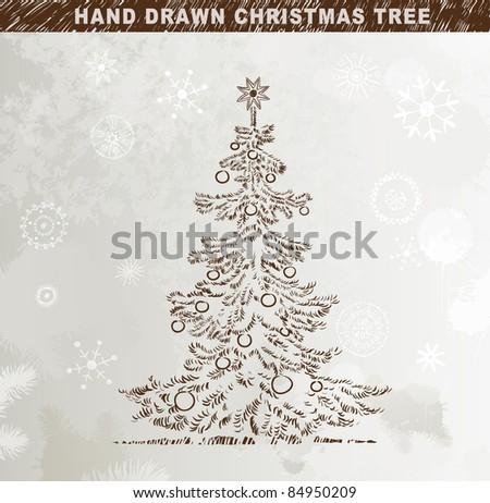 Hand drawn  Christmas tree with balls