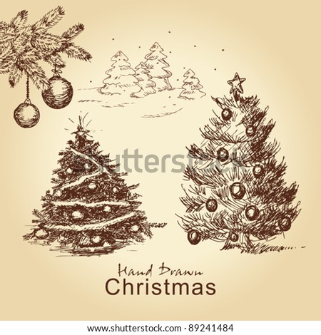 hand drawn christmas vintage set with christmas trees decorated with balls, for xmas design