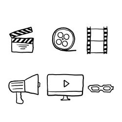 hand drawn Cinema line icons set vector illustration. Contains such icon as film, movie, tv, video and more. doodle vector