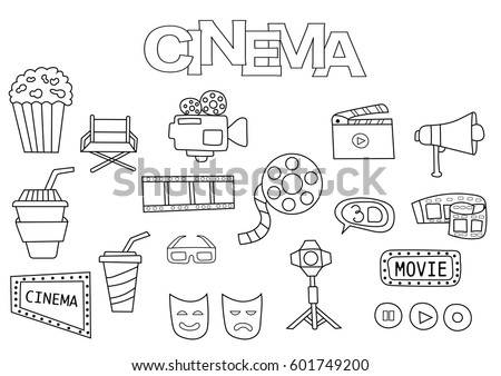 hand drawn cinema set coloring