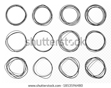 Hand drawn circle line sketch set. Round vector fields of writing, circles for messages painted with pen or pencil.