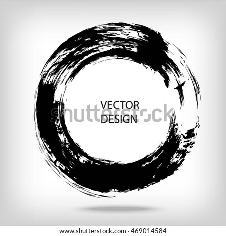 Hand drawn circle shape. label, logo design element. Brush abstract wave. Black enso zen symbol. Vector illustration.