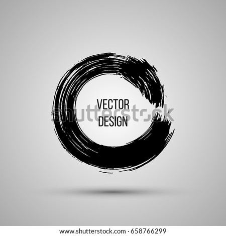 Hand drawn circle shape. Label, logo design element, frame. Brush abstract wave. Vector illustration.