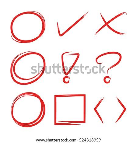 hand drawn circles and check marks