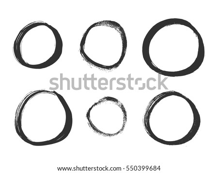Hand drawn circles. Set of vector grunge circle brush strokes.