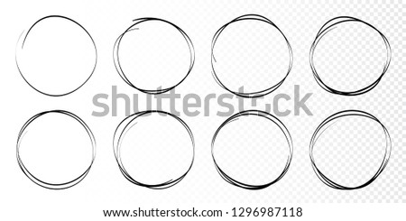 Hand drawn circles sketch frame set. Rounds scribble line circles. Doodle circular logo design elements.  Vector illustrations.