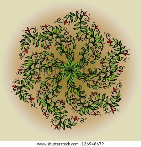Hand drawn circular ornament with green spiral flowers. Eps10