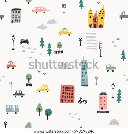Hand drawn city seamless pattern