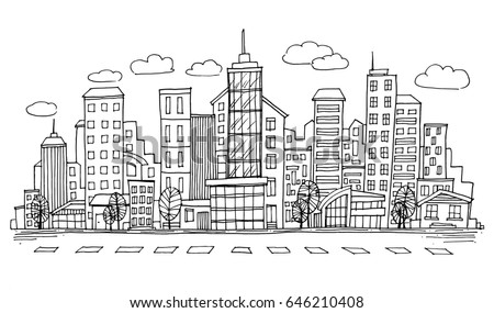 hand drawn city sketch for your