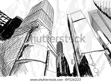 Hand drawn cityscape on white background