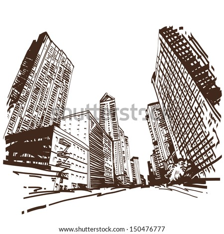 Hand drawn cityscape, vector illustration